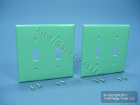 2 Leviton GREEN UNBREAKABLE 2-Gang Switch Cover Wallplates Switchplate 80709-GN