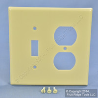 Leviton MIDWAY Ivory 2-Gang Switch Receptacle Wallplate Outlet Switchplate Cover 80505-I