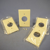 "4 Cooper Ivory 1.406"" Receptacle Single Outlet 1-Gang Standard Thermoset Wallplate Covers 2131V"