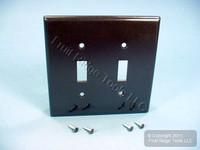 New Leviton Brown MIDWAY 2-Gang Toggle Switch Cover Wall Plate Switchplate 80509