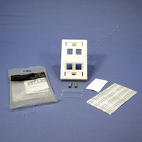Leviton White 1-Gang Quickport ANGLED 4-Port Wallplate w/ ID Windows & Labels 40807-WR