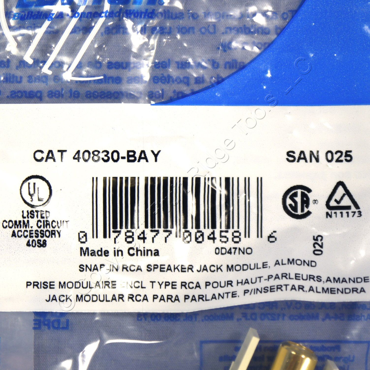 Leviton Quickport RCA yellow video gold plate 40830-BAY