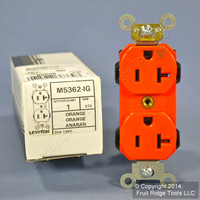 Leviton Orange LEV-LOK INDUSTRIAL Isolated Ground Receptacle Duplex Outlet 20A M5362-IG