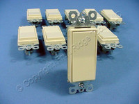 10 Pass & Seymour Ivory Decorator Rocker Wall Light Switches 3-Way 15A TM873-I