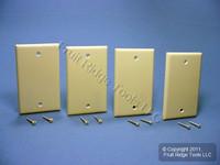 4 Leviton Ivory Standard 1-Gang Box Mount Blank Plastic Cover Wallplates 86014