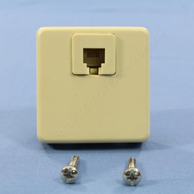 shop leviton ivory 4 wire surface mount phone jack. Black Bedroom Furniture Sets. Home Design Ideas