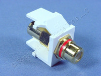 Leviton White Leviton Quickport RCA Video Gold Barrel Jack with Red Stripe 40830-BWR