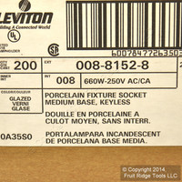 200 Leviton Porcelain Light Sockets Black Flange Lamp Holder Medium Base Keyless 8152-8