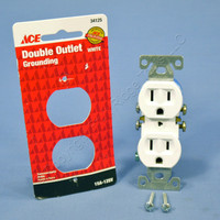 White Residential Duplex Receptacle Outlet NEMA 5-15R 15A 125V Grounding 34125