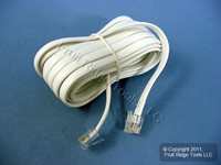 Leviton White 15' Phone Line Extension Cord 6-Wire RJ11 RJ14 RJ25 C2613-15W