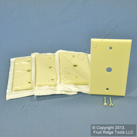 "4 Leviton Almond Phone Cable Wallplates Telephone Cover Plate .406"" Hole 82013"