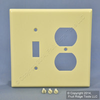 Leviton MIDWAY Almond 2-Gang Switch Receptacle Wallplate Outlet Cover 80505-A