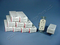 10 Cooper Light Almond Decorator Receptacles Duplex Outlet 5-15R 15A 125V 1107LA