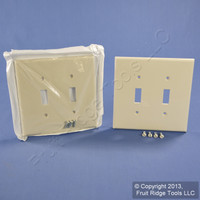 2 Leviton Light Almond 2-Gang Midway UNBREAKABLE Toggle Switch Cover Wallplates PJ2-T