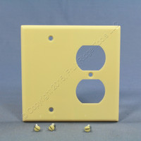 Leviton Ivory EXTRA DEEP Combination Duplex Receptacle Outlet Cover and Blank Wallplate 86308
