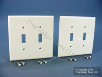 2 Leviton White MIDWAY 2-Gang Switch Cover Wall Plates Switchplates 80509-W