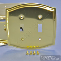 20 Creative Accents Polished Brass 2-Gang Toggle Switch Cover Wall Plates 15040