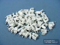 50 Leviton White Coaxial Cable Fastener Nial-In Clips C5811-WCP