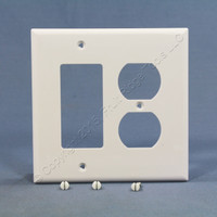 Cooper White UNBREAKABLE Midway 2-Gang Duplex Outlet Cover Decorator Rocker Switch GFCI Wallplate PJ826W