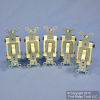 5 Leviton Ivory 4-Way COMMERCIAL Toggle Wall Light Switches 15A CS415-2I