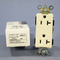 New Leviton Almond Decora INDUSTRIAL Outlet Duplex Receptacle 20A 16262-A Boxed
