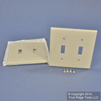 2 Leviton Light Almond UNBREAKABLE 2-Gang Switch Cover Wallplate Switchplates 80709-T