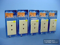5 Leviton Decora Ivory 6-Wire DUPLEX Phone Jack Wallplates C2647-I