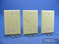 3 Leviton Ivory 1-Gang Blank MIDWAY Box Mount Wallplate Plastic Covers 80514-I