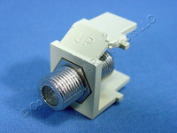 Leviton Ivory Quickport Snap-In Female F-Type Coaxial Cable Jack 75-Ohm 41084-FIF