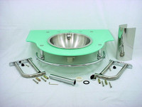 New Decolav Stainless Steel Full Recessed Bowl Seafoam Green Glass Top Vanity