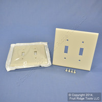 2 Leviton Light Almond MIDWAY 2-Gang Switch Cover Wall Plate Switchplates 80509-T