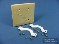 Leviton Ivory 2-Gang Blank Unbreakable Wallplate Strap Mount Box Cover 80734-I