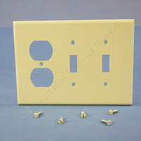 Leviton Ivory LARGE Receptacle Outlet Cover Plate Light Switch Wallplate 80521-I