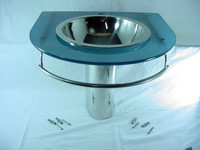 New Decolav Frosted Blue Tempered 12mm Glass Top Vanity w/ Stainless Sink Bowl