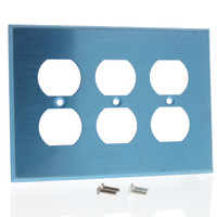 Leviton Non-Magnetic Stainless Steel MIDWAY 3-Gang Receptacle Wallplate Outlet Cover SSJ83-40