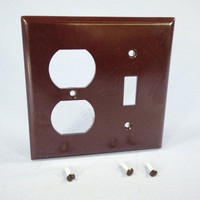 Eagle Brown 2-Gang Toggle Switch Receptacle Outlet Cover Thermoset Wallplate Switchplate 2138B