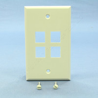 NEW Leviton Almond Quickport 4-Port Flush Mount High Impact Fire-Retardant Plastic Wallplate Cover 1-Gang 41080-4AP