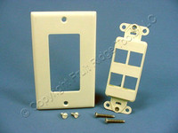 Leviton Almond 4-Port Decora Quickport Insert w/Wallplate Cover 41644-A