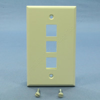 NEW Leviton Almond Quickport 3-Port Flush Mount High Impact Fire-Retardant Plastic Wallplate Cover 1-Gang 41080-3AP