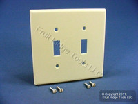 New Leviton Almond MIDWAY 2-Gang Toggle Switch Plastic Cover Wallplate 80509-A