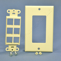 Leviton Almond 1-Gang 6-Port Decora Quickport Insert w/ Wallplate Cover 41646-A