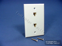 Leviton White DUPLEX Phone Jack Wallplate 6-Wire Telephone C2676-W