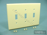 Leviton Light Almond MIDWAY 3-Gang Toggle Cover Wallplate Switchplate 80511-T