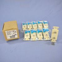 10 Leviton Ivory Decora DUAL CATV Coaxial Cable Jack Wall Plates Duplex 40682-I