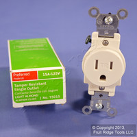 Leviton Light Almond TAMPER RESISTANT COMMERCIAL Single Outlet Receptacle 15A T5015-TS