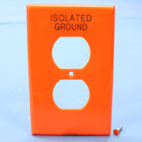 "Orange Leviton LARGE ""ISOLATED GROUND"" Unbreakable Receptacle Wallplate Nylon Outlet Cover PJ8-IG"