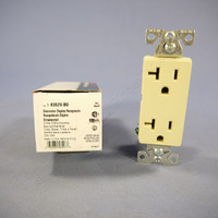 New Cooper Ivory COMMERCIAL Decorator Receptacle Duplex Outlet NEMA 5-20R 20A 6352V