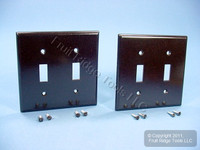 2 Leviton Brown Standard 2-Gang Toggle Switch Cover Wallplate Switchplates 85009