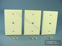 "3 Leviton Light Almond MIDWAY Phone Radio Cable Wallplates .312"" Opening 80513-T"