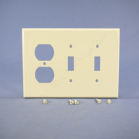 Leviton Almond LARGE Duplex Receptacle Outlet Toggle Light Switch Cover Wallplate 80521-A